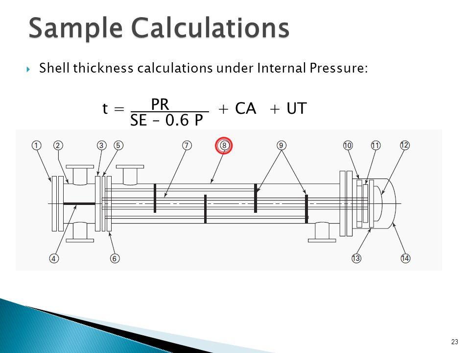 Sample Calculations PR . SE – 0.6 P + CA t = + UT