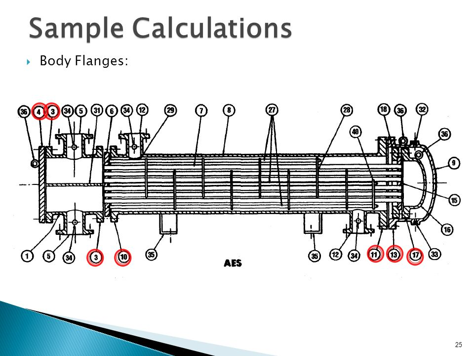 Sample Calculations Body Flanges: