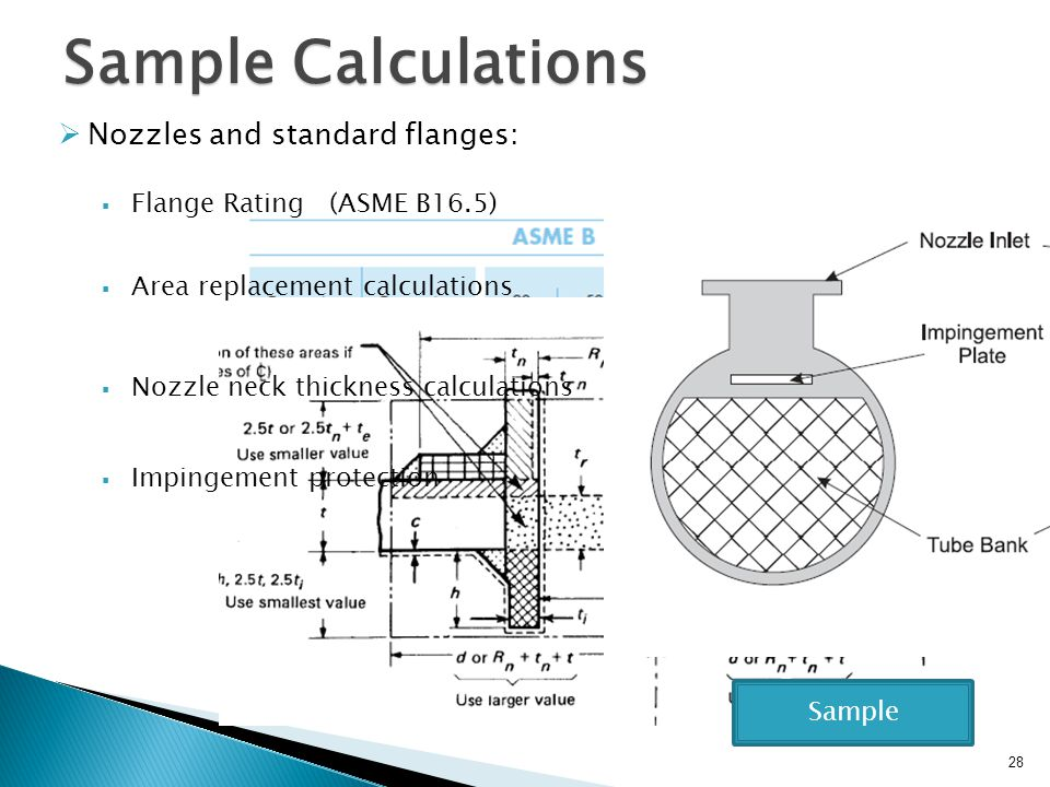 Sample Calculations Nozzles and standard flanges: