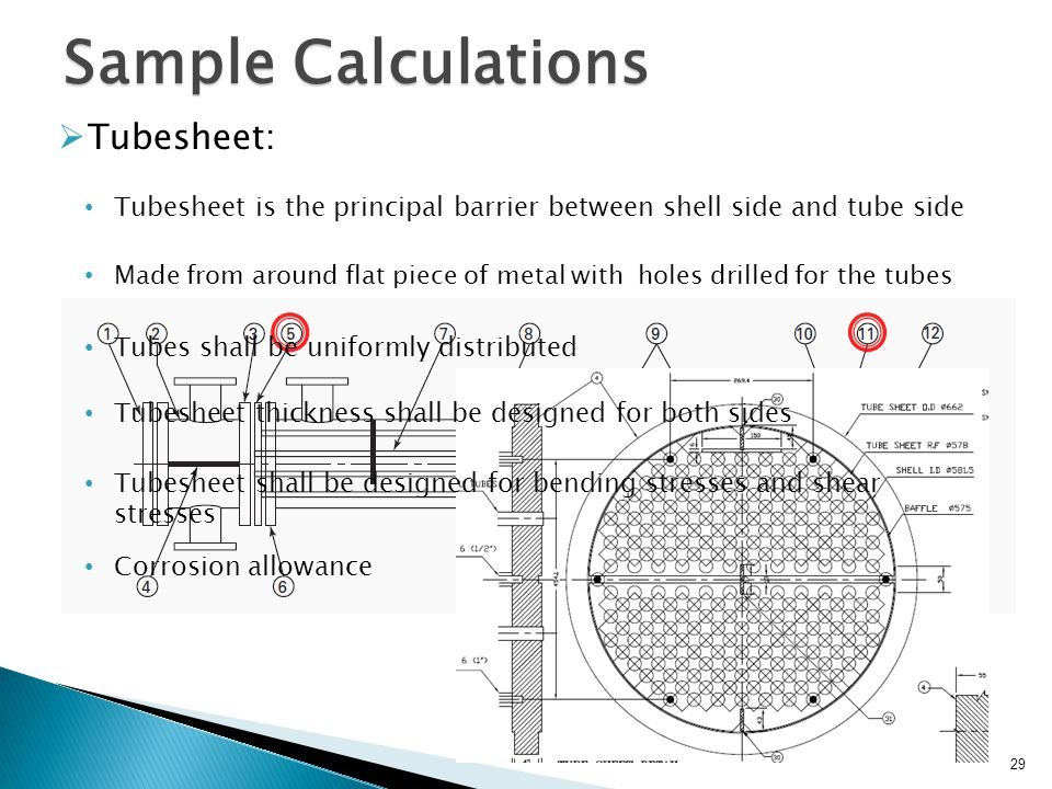 Sample Calculations Tubesheet: