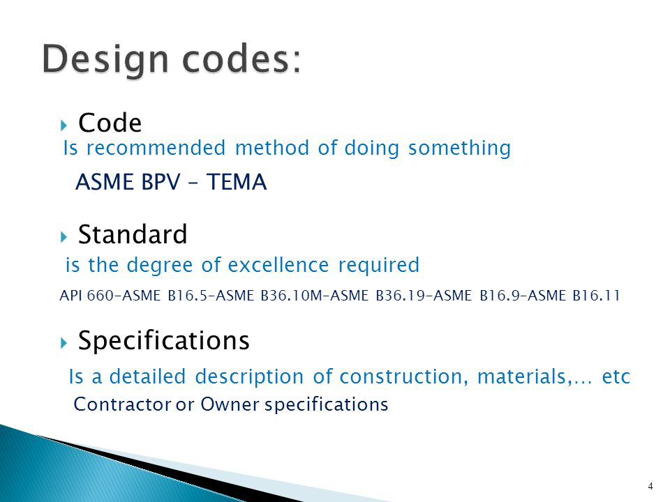 Design codes: Code Standard Specifications