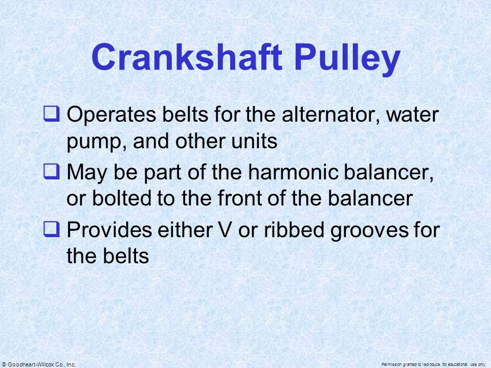 Crankshaft Pulley Operates belts for the alternator, water pump, and other units.