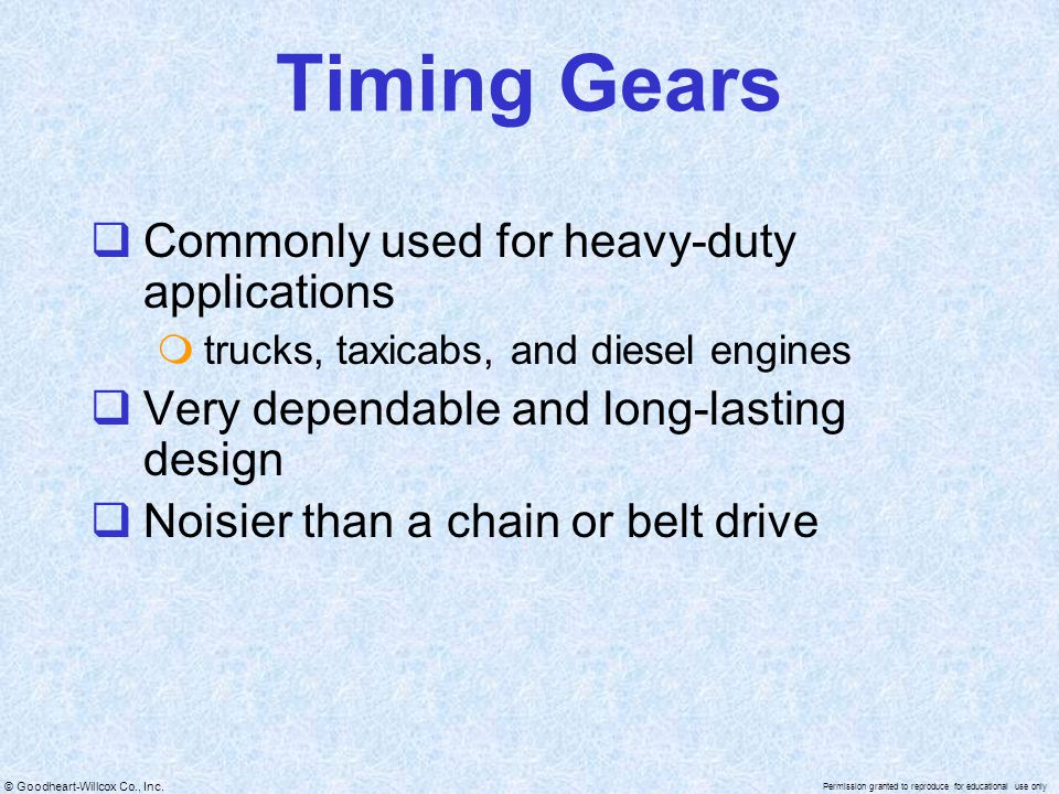 Timing Gears Commonly used for heavy-duty applications