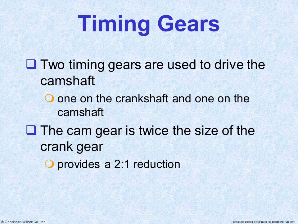 Timing Gears Two timing gears are used to drive the camshaft