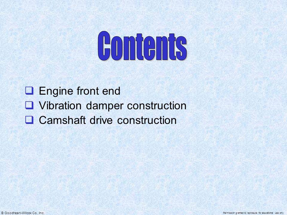 Contents Engine front end Vibration damper construction