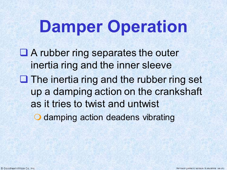 Damper Operation A rubber ring separates the outer inertia ring and the inner sleeve.