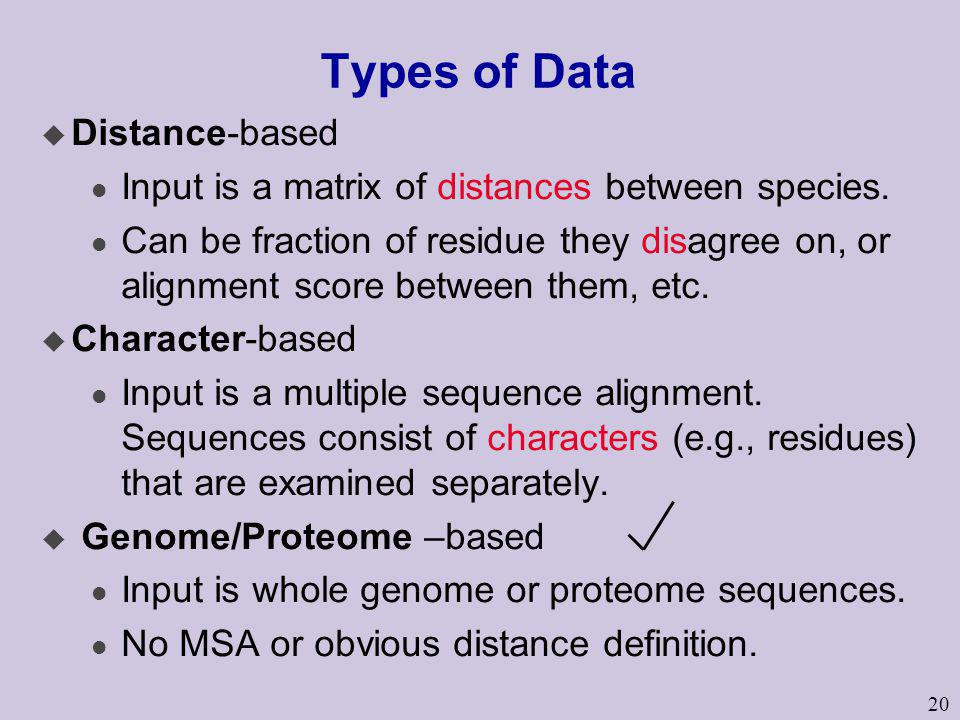 Types of Data Distance-based