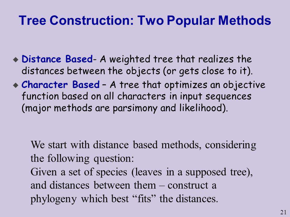 Tree Construction: Two Popular Methods