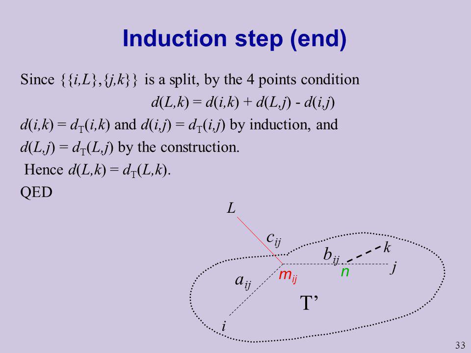 d(L,k) = d(i,k) + d(L,j) - d(i,j)