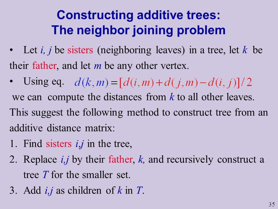 Constructing additive trees: The neighbor joining problem