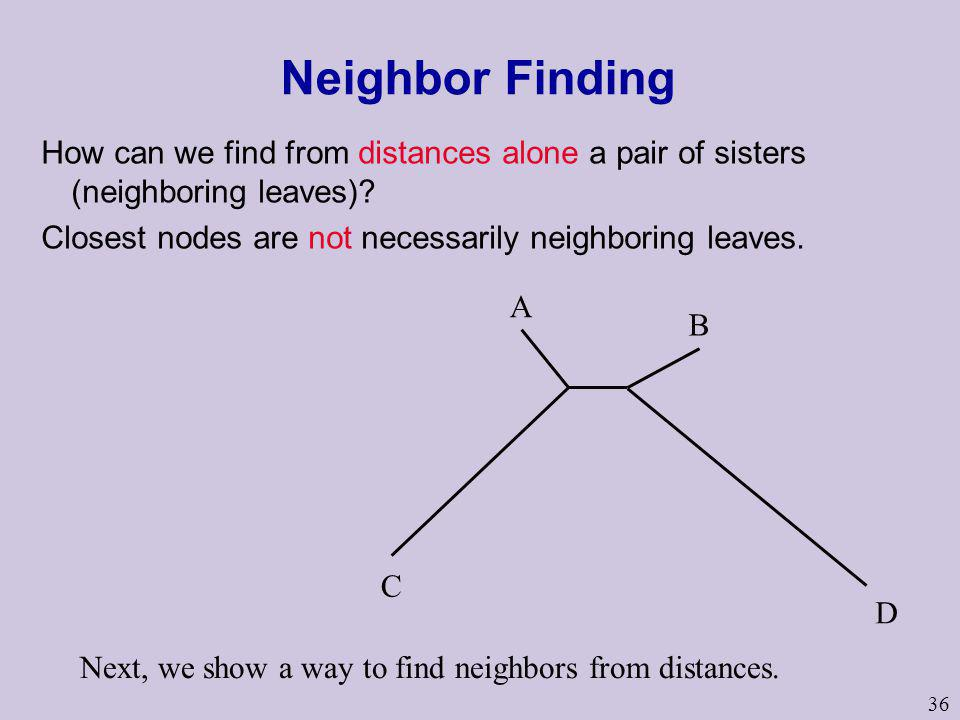 Neighbor Finding How can we find from distances alone a pair of sisters (neighboring leaves) Closest nodes are not necessarily neighboring leaves.