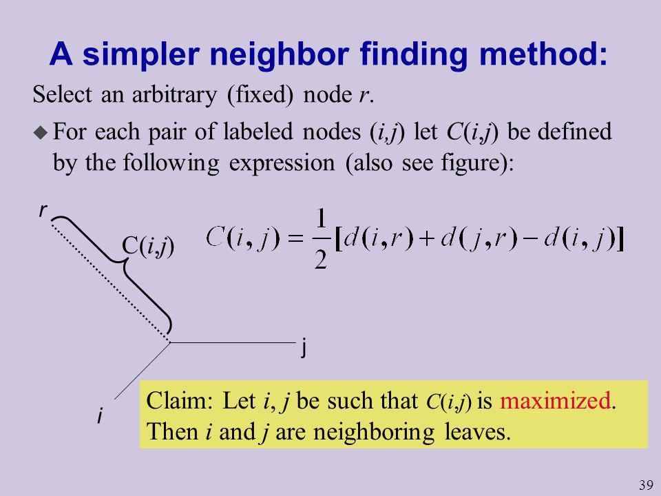 A simpler neighbor finding method:
