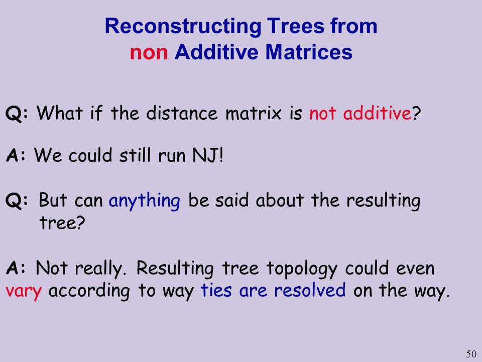 Reconstructing Trees from non Additive Matrices