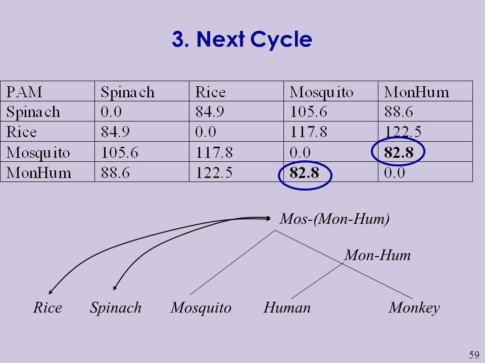 3. Next Cycle Mos-(Mon-Hum) Mon-Hum Rice Spinach Mosquito Human Monkey