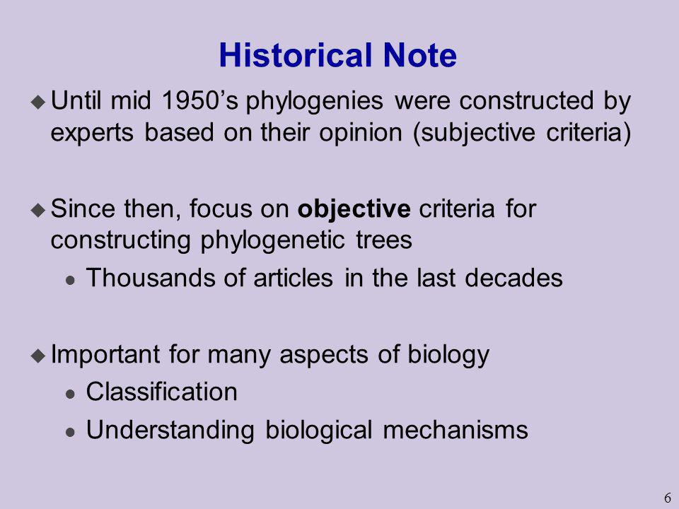 Historical Note Until mid 1950's phylogenies were constructed by experts based on their opinion (subjective criteria)