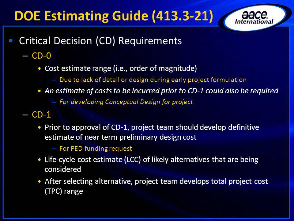 DOE Estimating Guide (413.3-21)