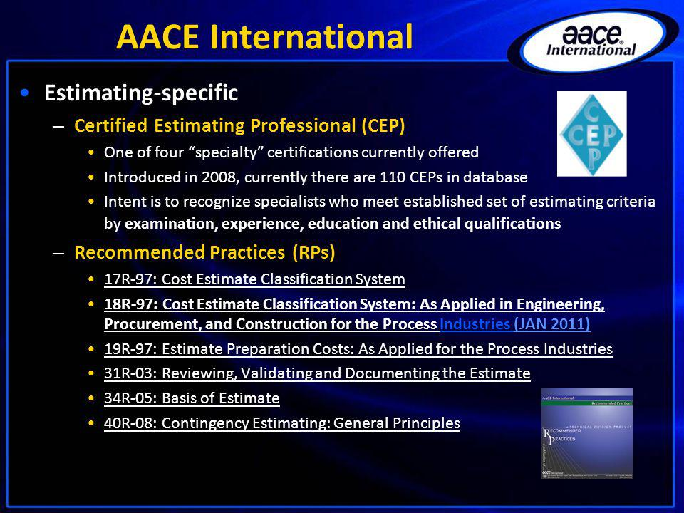 AACE International Estimating-specific