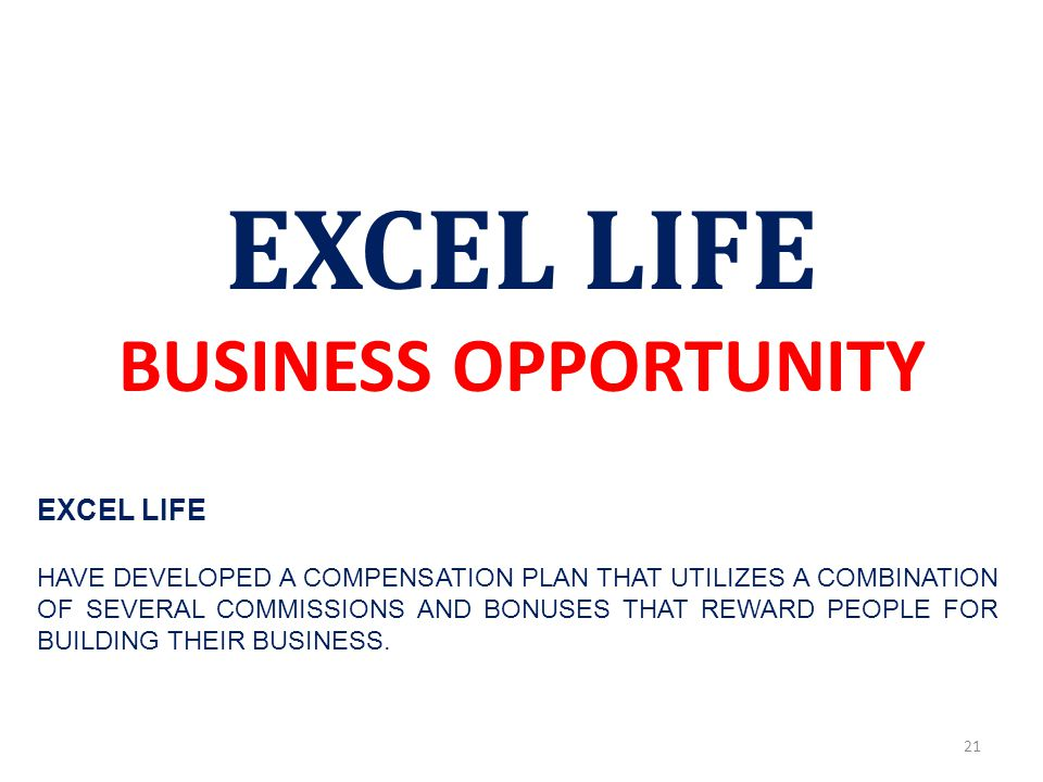 EXCEL LIFE BUSINESS OPPORTUNITY