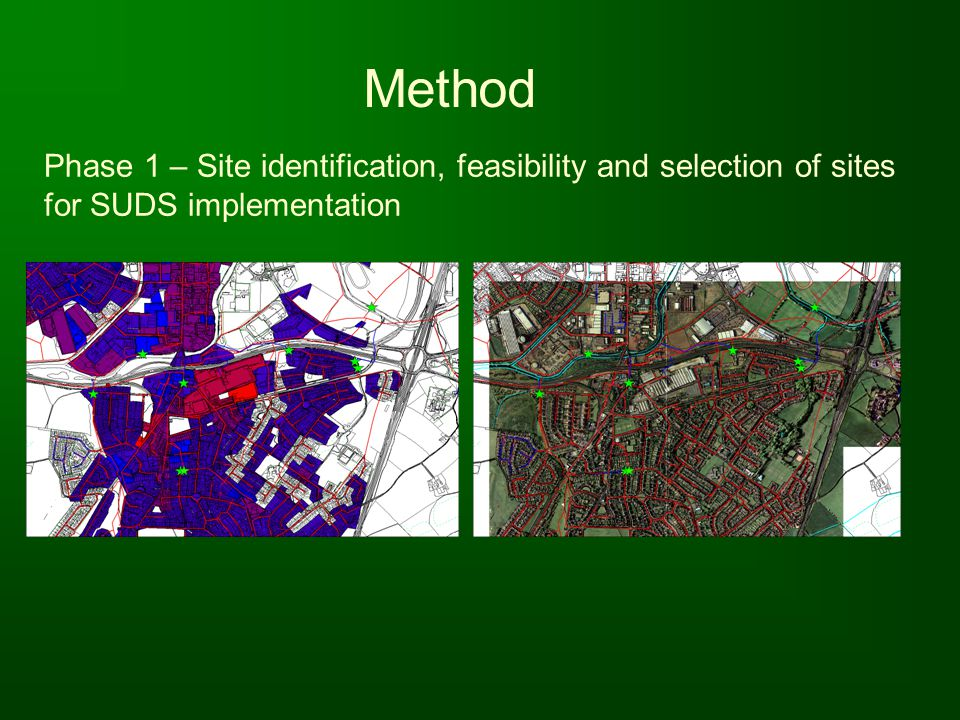 Method Phase 1 – Site identification, feasibility and selection of sites for SUDS implementation.