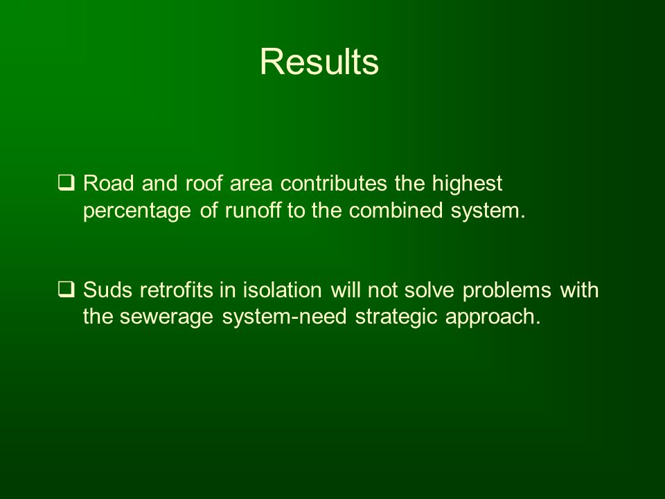 Results Road and roof area contributes the highest percentage of runoff to the combined system.