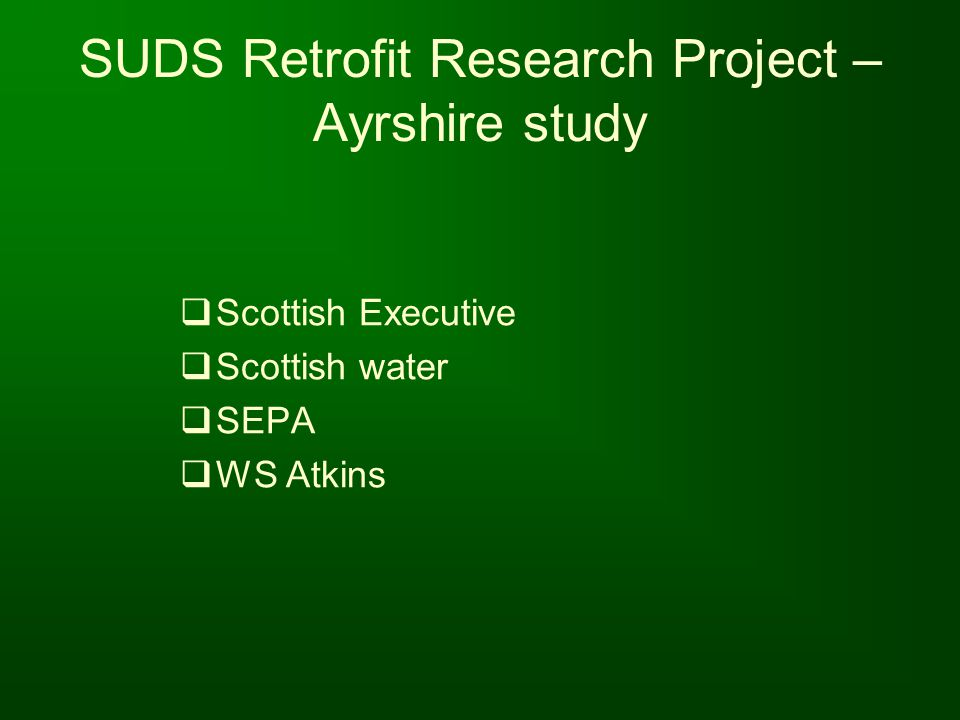 SUDS Retrofit Research Project – Ayrshire study