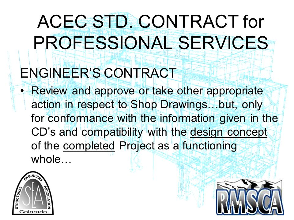 ACEC STD. CONTRACT for PROFESSIONAL SERVICES