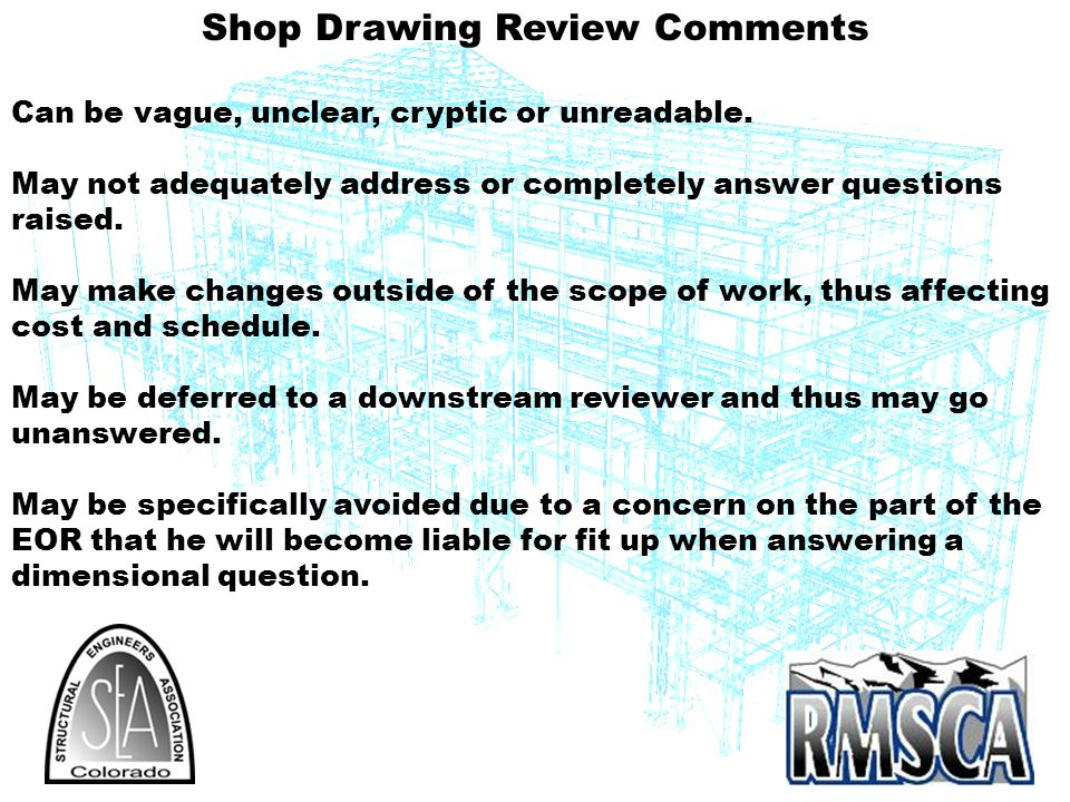 Shop Drawing Review Comments