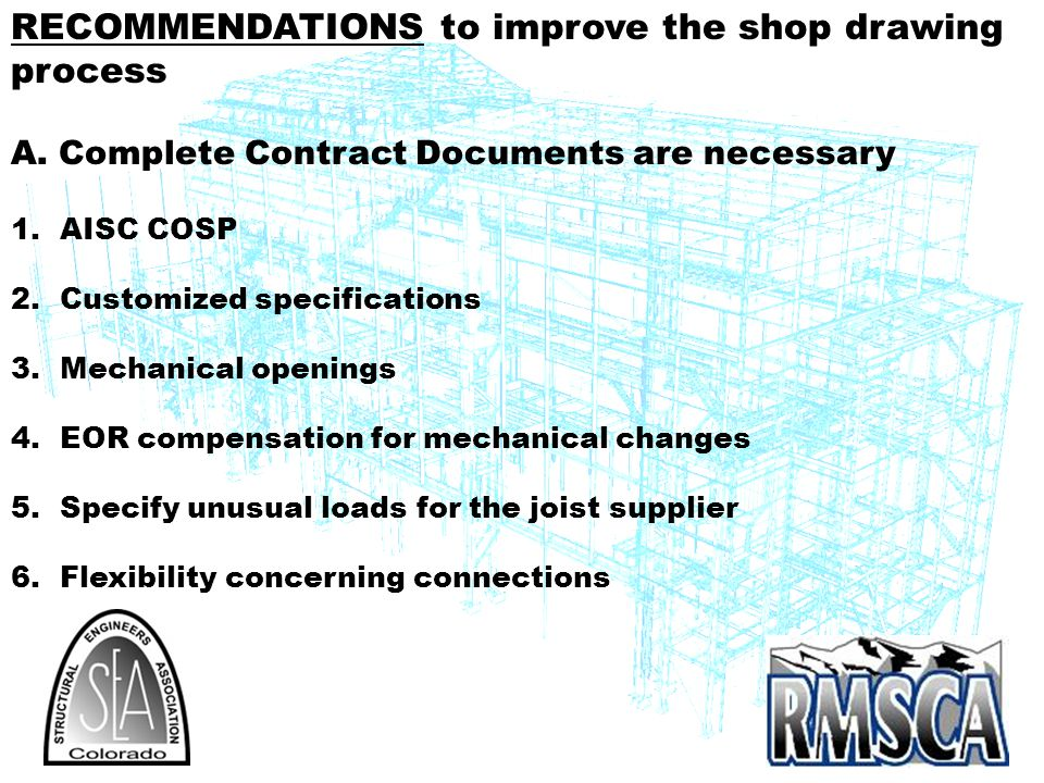 RECOMMENDATIONS to improve the shop drawing process
