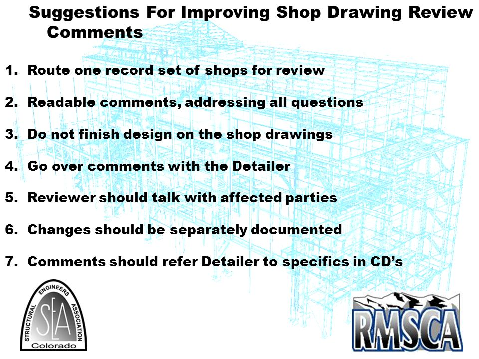 Suggestions For Improving Shop Drawing Review Comments