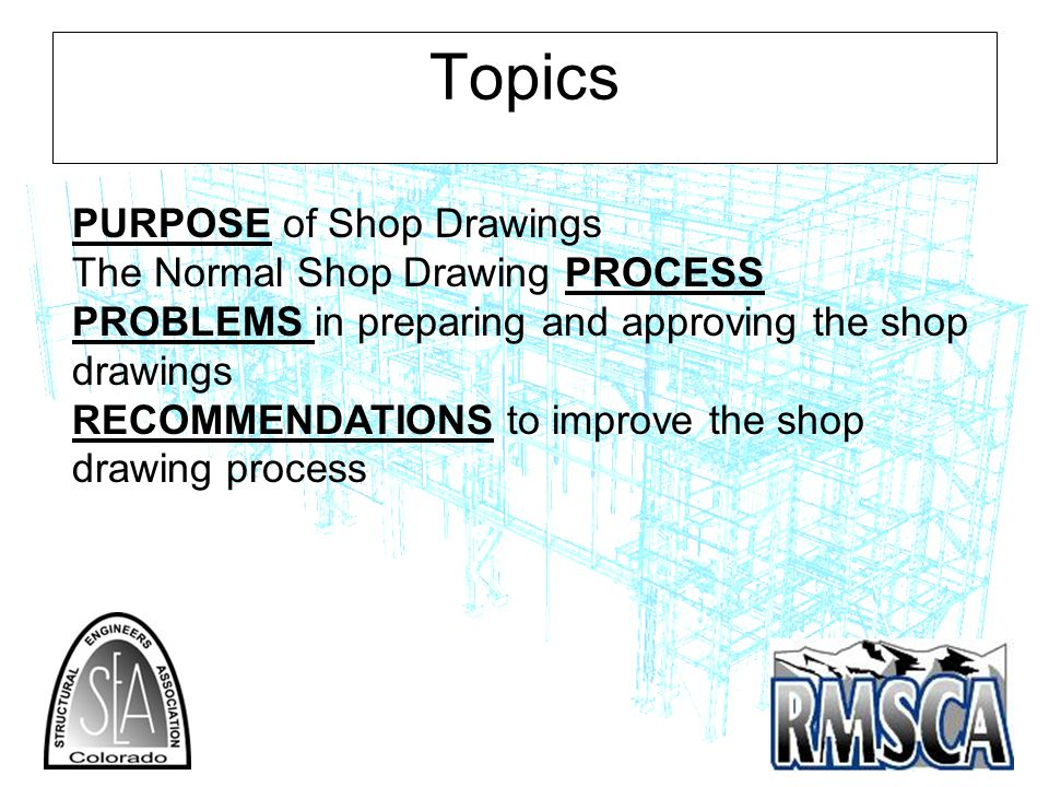 Topics PURPOSE of Shop Drawings The Normal Shop Drawing PROCESS