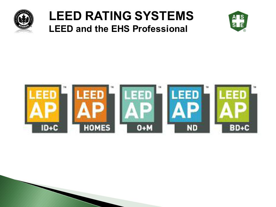 LEED RATING SYSTEMS LEED and the EHS Professional