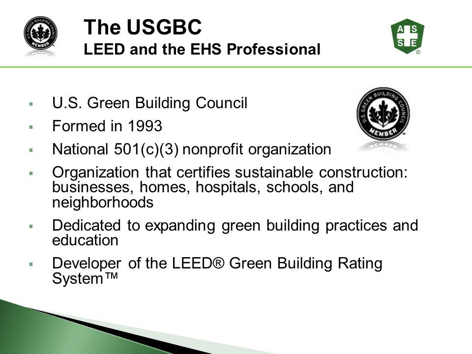Leed and the ehs professional ppt download for Leed for homes rating system