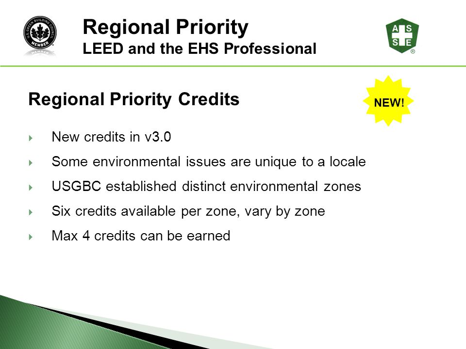 Regional Priority LEED® Awareness Regional Priority Credits