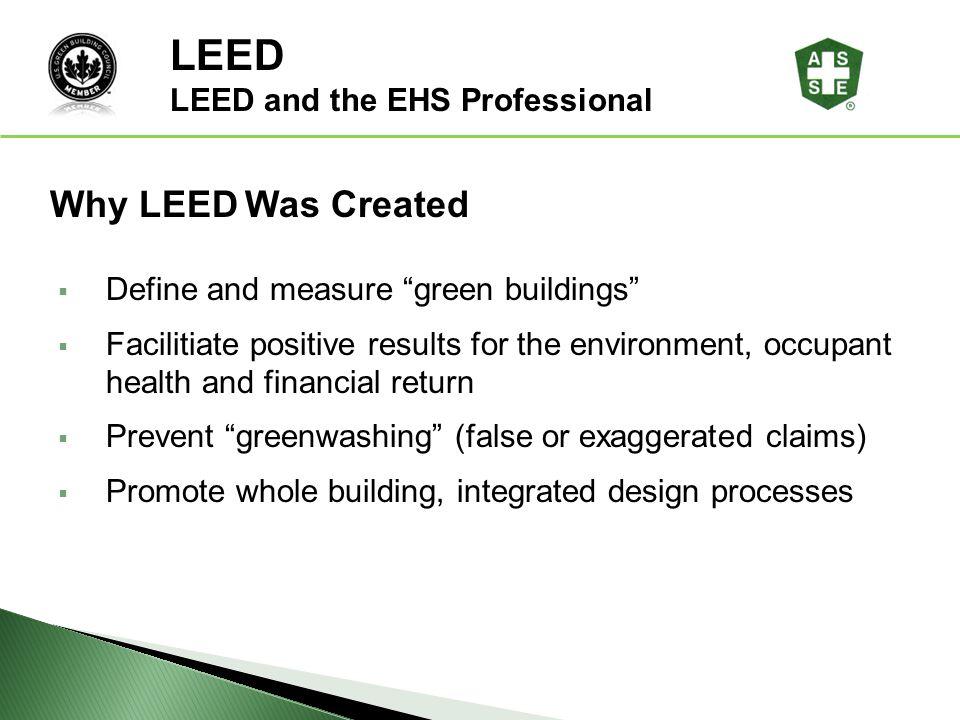 LEED LEED® Awareness Why LEED Was Created