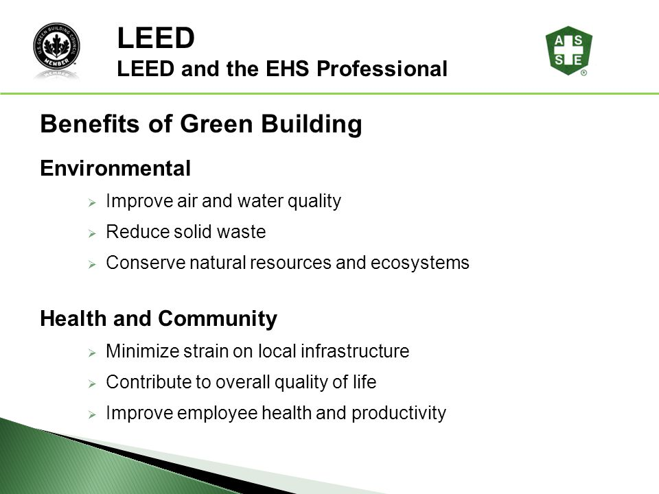 Leed and the ehs professional ppt download for Benefits of leed