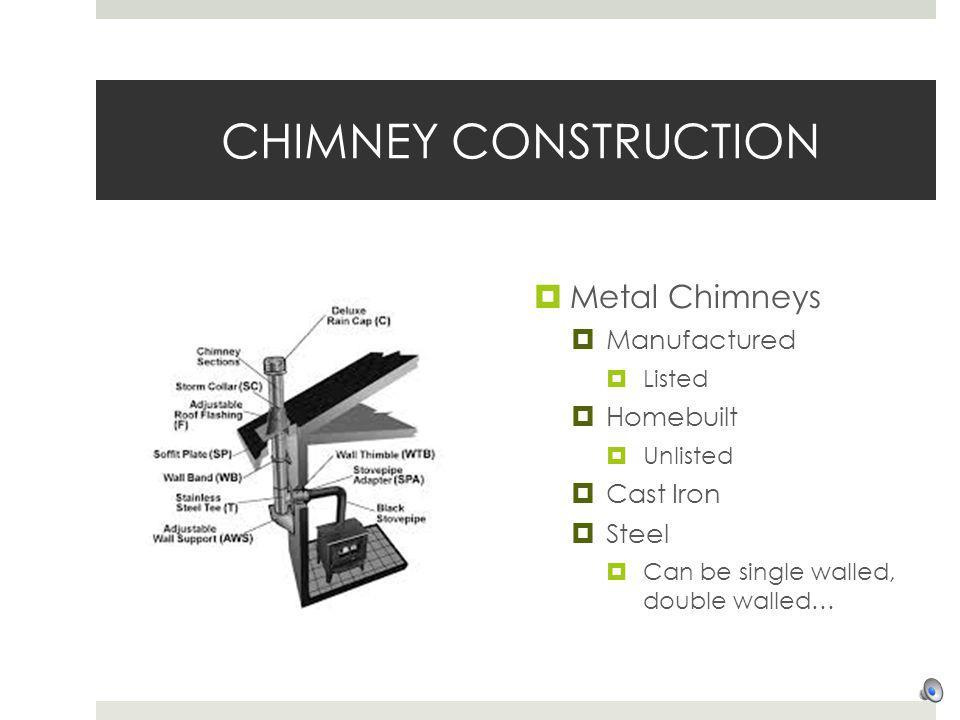 CHIMNEY CONSTRUCTION Metal Chimneys Manufactured Homebuilt Cast Iron