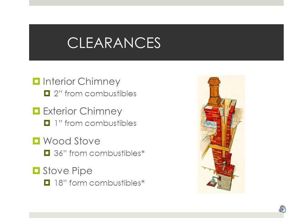 CLEARANCES Interior Chimney Exterior Chimney Wood Stove Stove Pipe