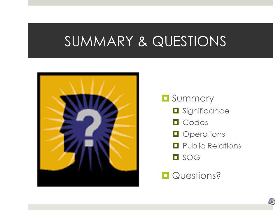 SUMMARY & QUESTIONS Summary Questions Significance Codes Operations