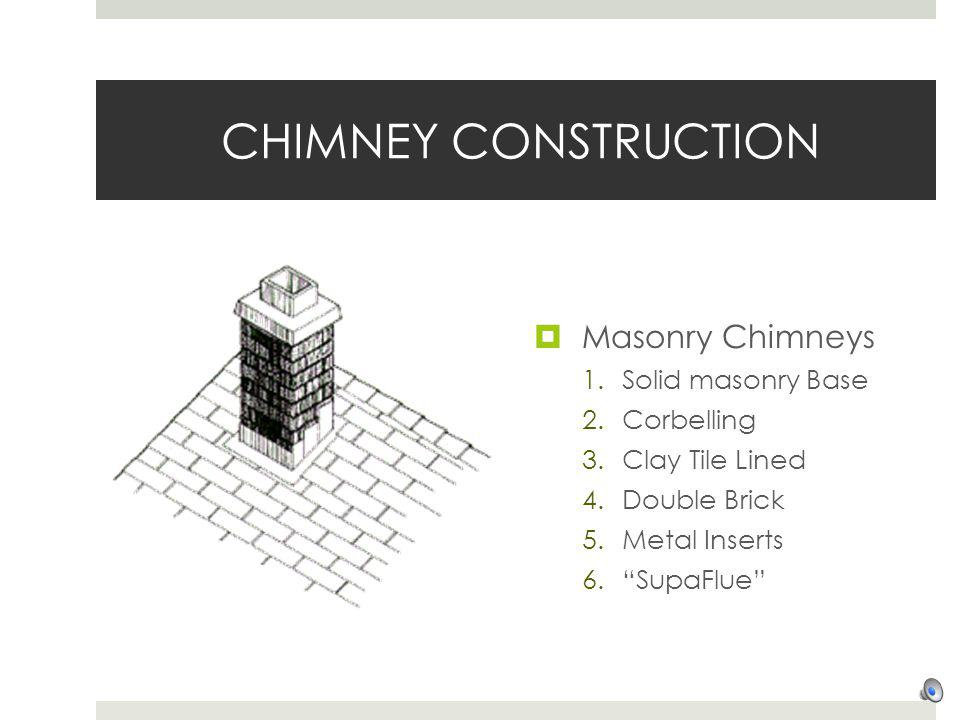 CHIMNEY CONSTRUCTION Masonry Chimneys Solid masonry Base Corbelling