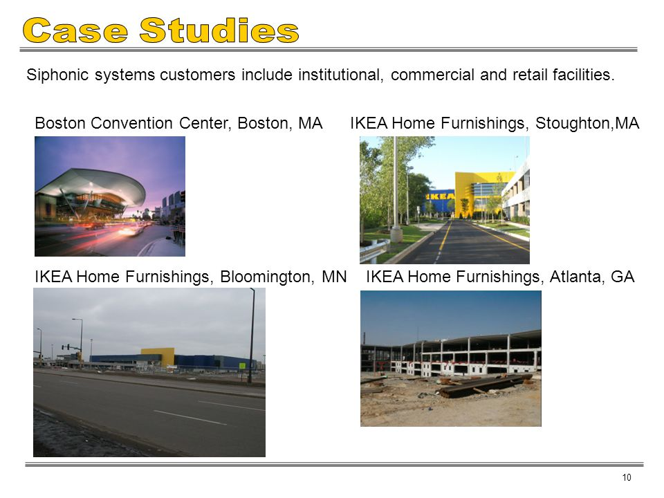 Case Studies Siphonic systems customers include institutional, commercial and retail facilities.