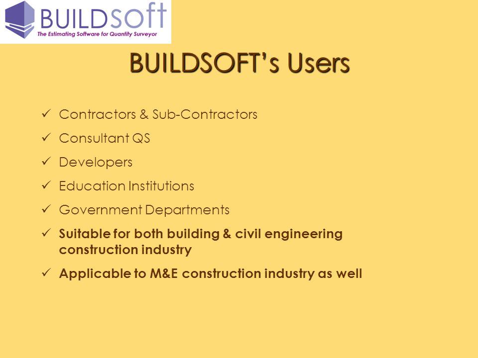 BUILDSOFT's Users Contractors & Sub-Contractors Consultant QS