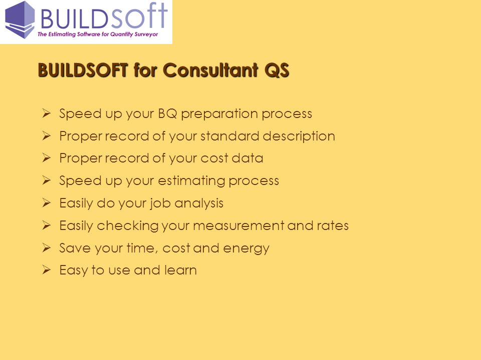 BUILDSOFT for Consultant QS