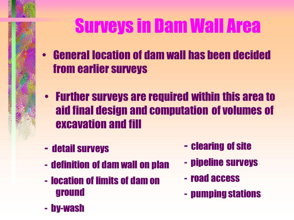 Surveys in Dam Wall Area