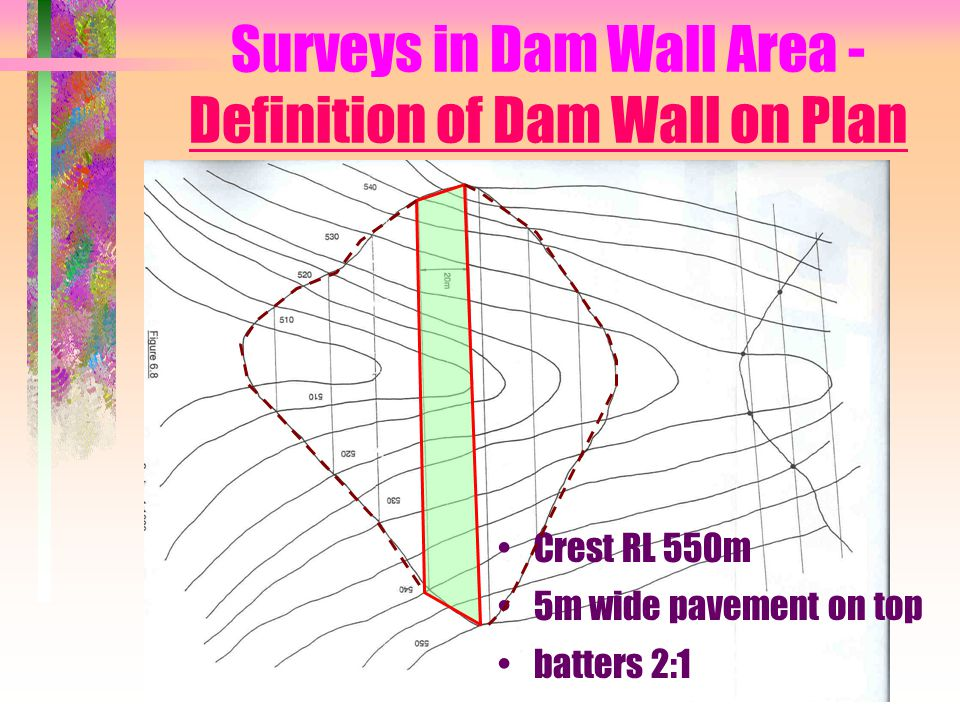 Surveys in Dam Wall Area - Definition of Dam Wall on Plan