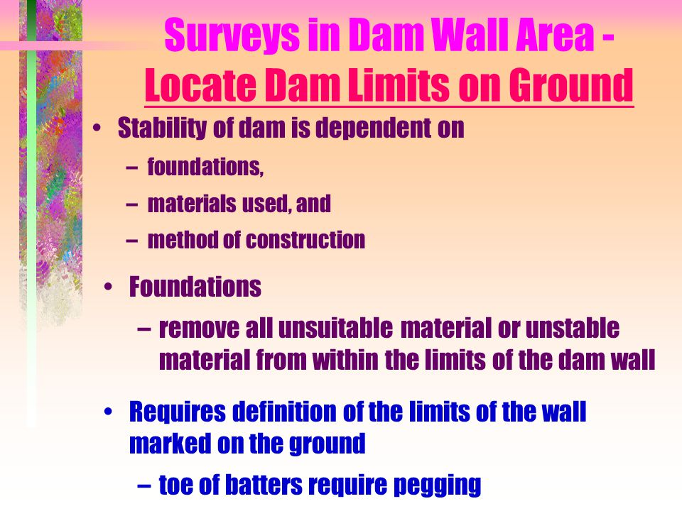 Surveys in Dam Wall Area - Locate Dam Limits on Ground