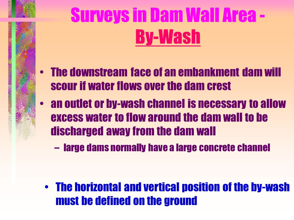 Surveys in Dam Wall Area - By-Wash