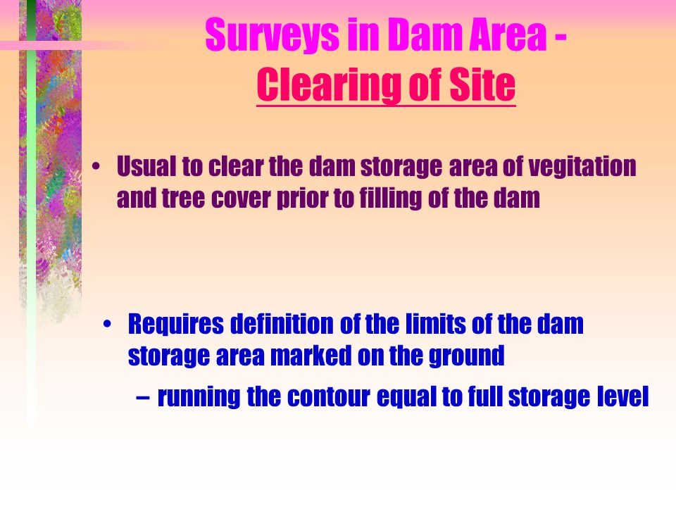Surveys in Dam Area - Clearing of Site