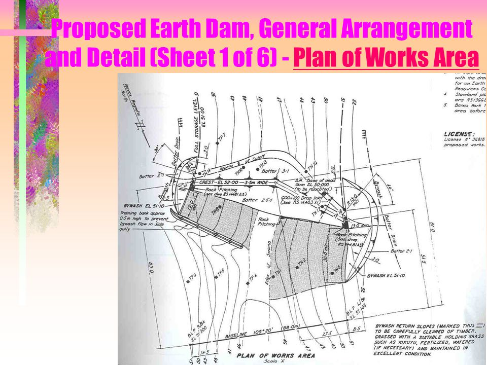Proposed Earth Dam, General Arrangement and Detail (Sheet 1 of 6) - Plan of Works Area