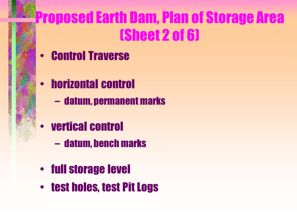 Proposed Earth Dam, Plan of Storage Area (Sheet 2 of 6)