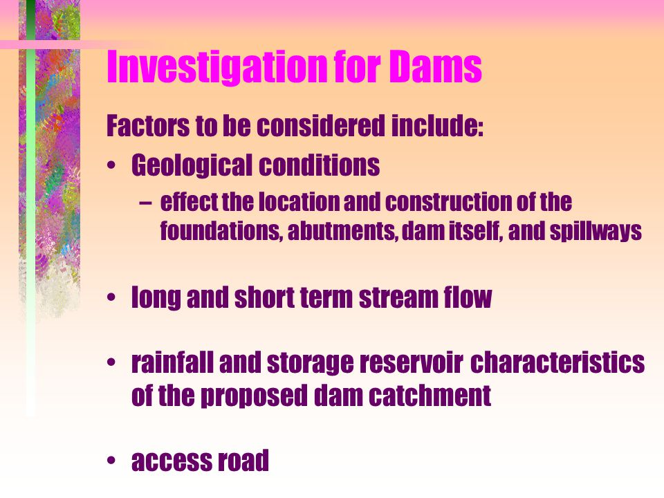 Investigation for Dams